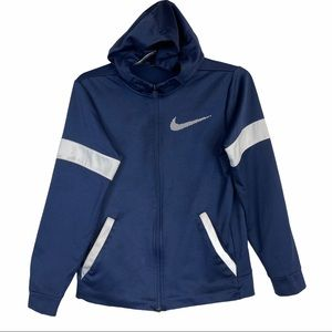 NIKE Youth Blue And White Hooded Sweater